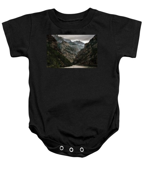 Foggy Mountains Over Neretva Gorge Baby Onesie