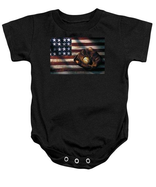 Folk Art American Flag And Baseball Mitt Baby Onesie