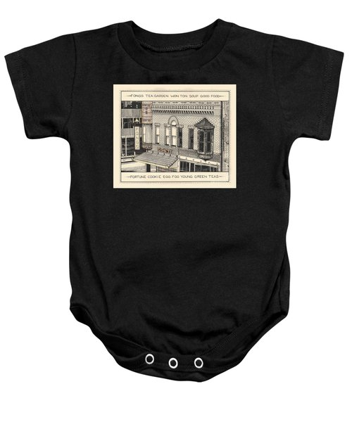 Baby Onesie featuring the drawing Fongs Tea Garden by Chholing Taha