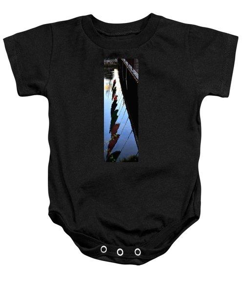 Foot Bridge Reflections 487 Baby Onesie