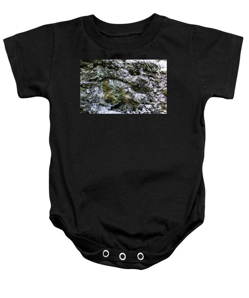 Baby Onesie featuring the photograph Fossil In The Wall by Francesca Mackenney