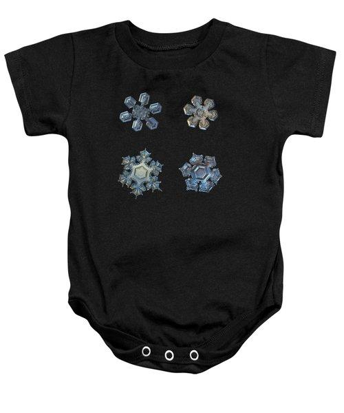 Four Snowflakes On Black 2 Baby Onesie