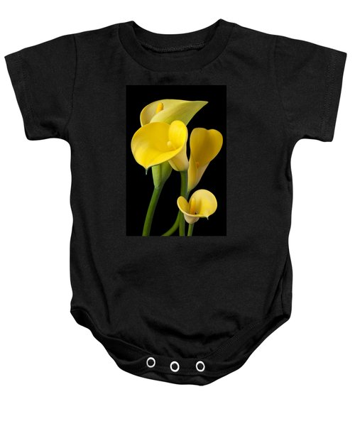Four Yellow Calla Lilies Baby Onesie