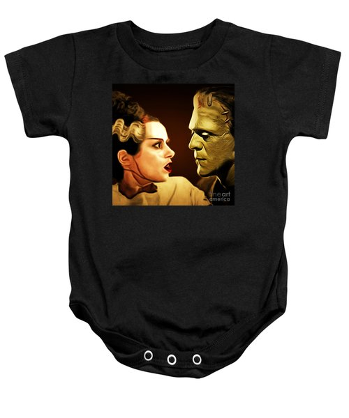Frankenstein And The Bride I Have Love In Me The Likes Of Which You Can Scarcely Imagine 20170407 Sq Baby Onesie
