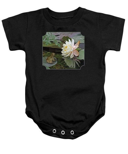 Frog In Awe Of White Water Lily Baby Onesie