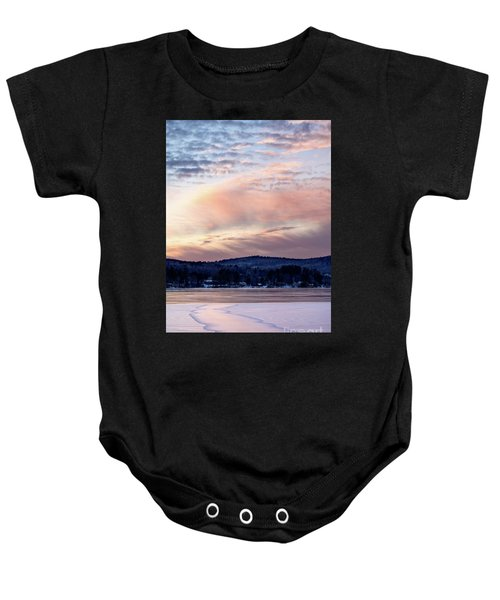 Frozen Lake Sunset In Wilton Maine  -78096-78097 Baby Onesie