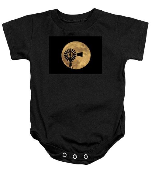 Full Moon Behind Windmill Baby Onesie