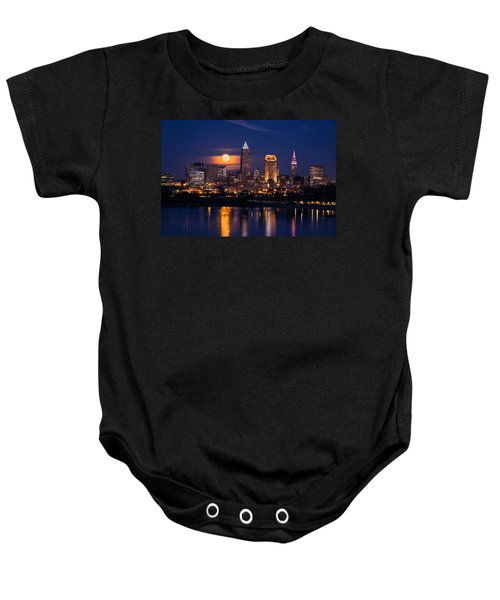 Full Moonrise Over Cleveland Baby Onesie