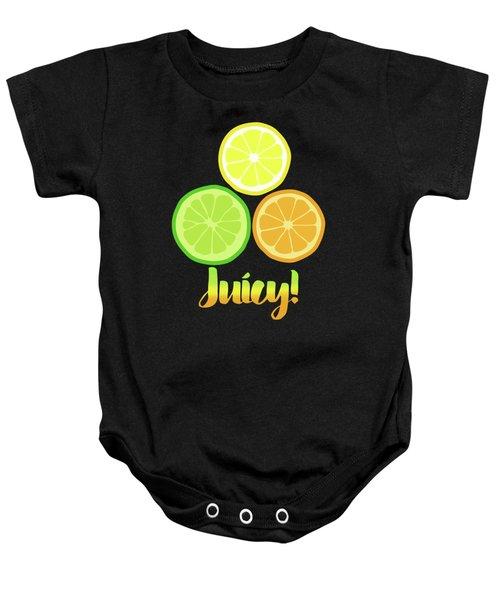 Fun Juicy Orange Lime Lemon Citrus Art Baby Onesie