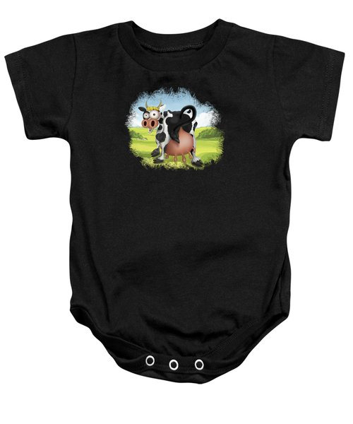 Baby Onesie featuring the drawing Funny Cow by Julia Art