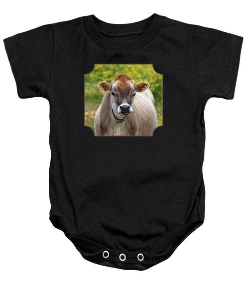Funny Jersey Cow - Horizontal Baby Onesie