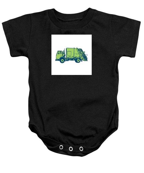 Garbage Truck Rear End Loader Side Woodcut Baby Onesie