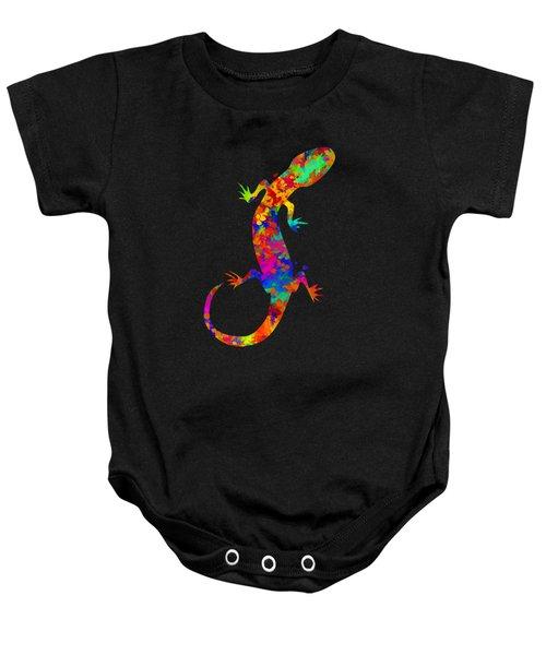 Gecko Watercolor Art Baby Onesie