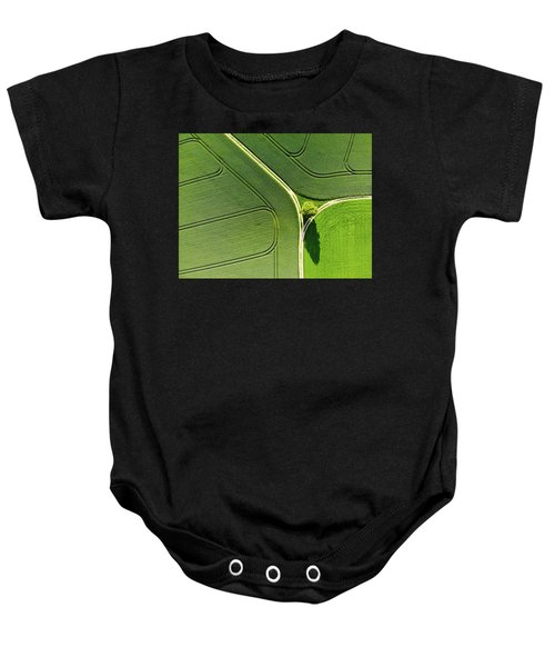 Geometric Landscape 05 Tree And Green Fields Aerial View Baby Onesie
