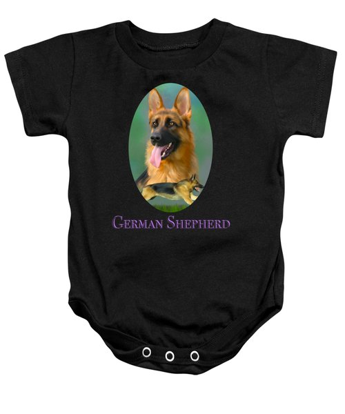 German Shepherd With Name Logo Baby Onesie