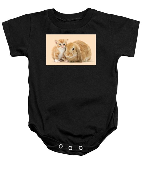 Ginger Kitten And Sandy Bunny Baby Onesie