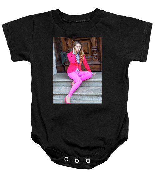 Girl Dressing In Pink Baby Onesie