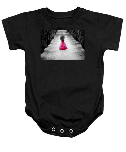 Girl In A Red Dress Baby Onesie