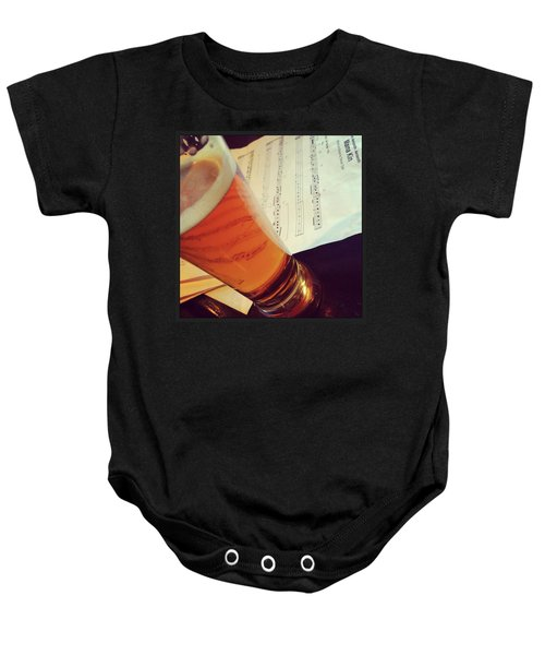 Glass Of Beer And Music Notes Baby Onesie