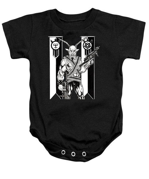 Goat War Black Baby Onesie by Alaric Barca