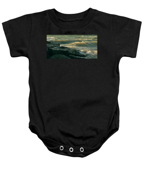 Golden Capped Sunset Waves Of Lake Michigan Baby Onesie
