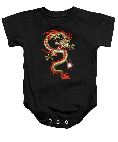 Golden Chinese Dragon Fucanglong On Black Silk Baby Onesie by Serge Averbukh