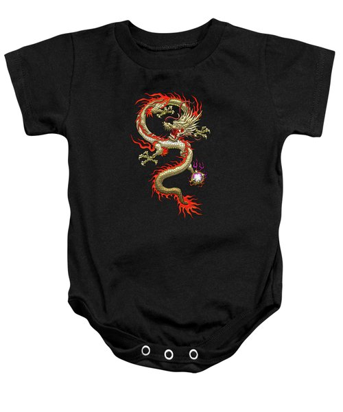 Golden Chinese Dragon Fucanglong On Black Silk Baby Onesie