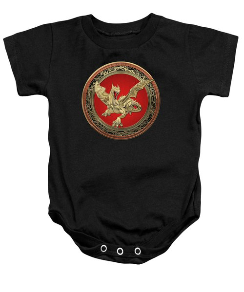 Golden Guardian Dragon Over Black Velvet Baby Onesie