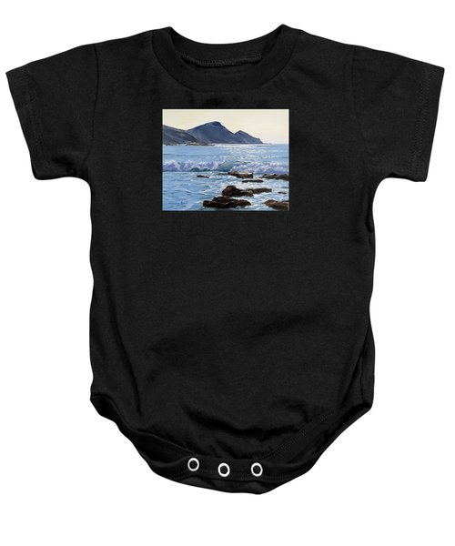 Baby Onesie featuring the painting Golden Light At Crackington Haven by Lawrence Dyer