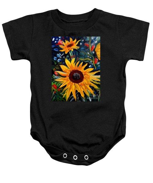 Golden Sunflower Burst Baby Onesie