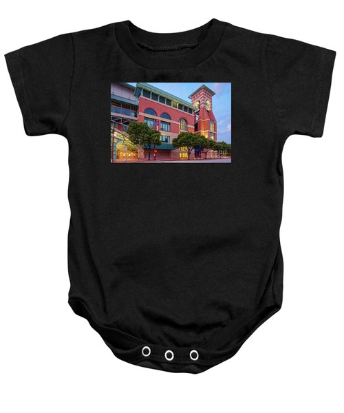 Golden Sunset Glow On The Facade Of Minute Maid Park - Downtown Houston Harris County Texas Baby Onesie