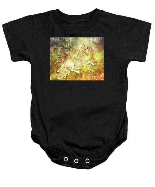 Golden Unicorn Dreams Baby Onesie