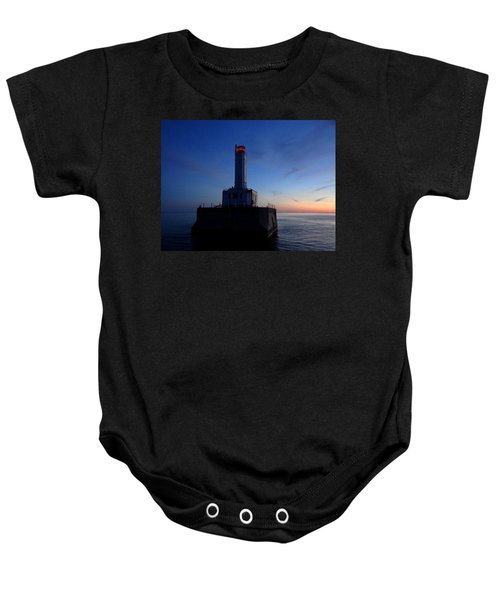 Grays Reef Lighthouse At Dusk Baby Onesie