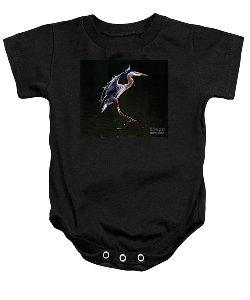 Great Blue Heron On The Wing Baby Onesie