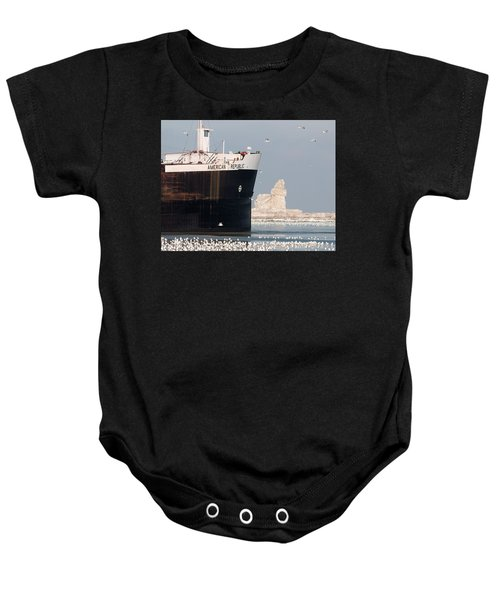 Great Lakes Ship Passing A Frozen Cleveland Lighthouse Baby Onesie