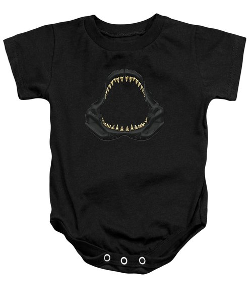 Great White Shark - Black Jaws With Gold Teeth On Black Canvas Baby Onesie by Serge Averbukh