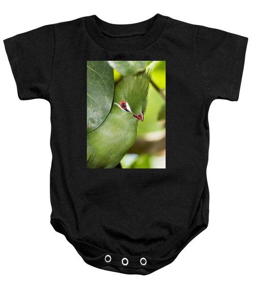 Green Turaco Bird Portrait Baby Onesie