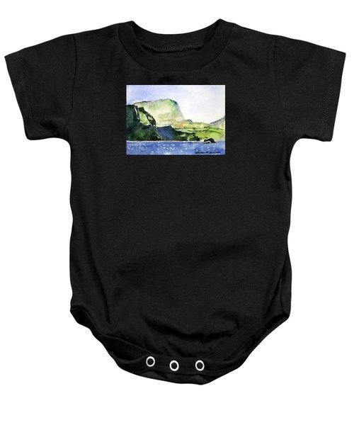 Green Cliffs And Sea Baby Onesie