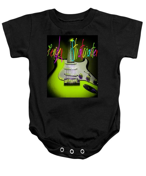 Baby Onesie featuring the photograph Green Fender Stratocaster  by Guitar Wacky