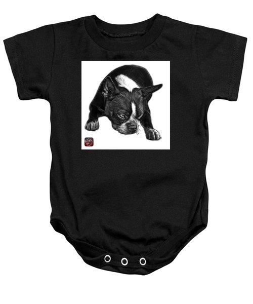 Greyscale Boston Terrier Art - 8384 - Wb Baby Onesie