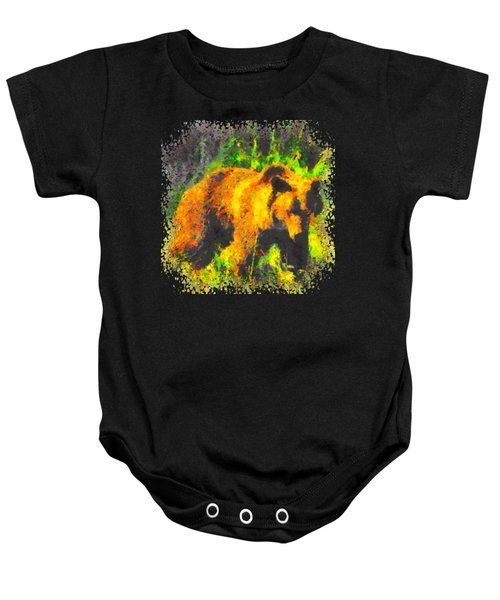 Grizzly In Field Baby Onesie