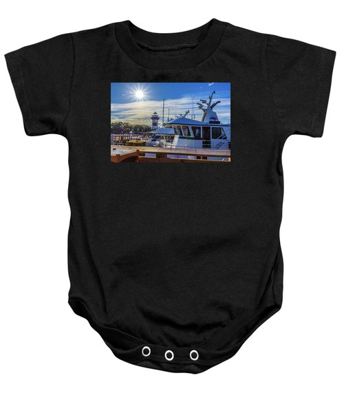 Habour Town Lighthouse And Marina Baby Onesie
