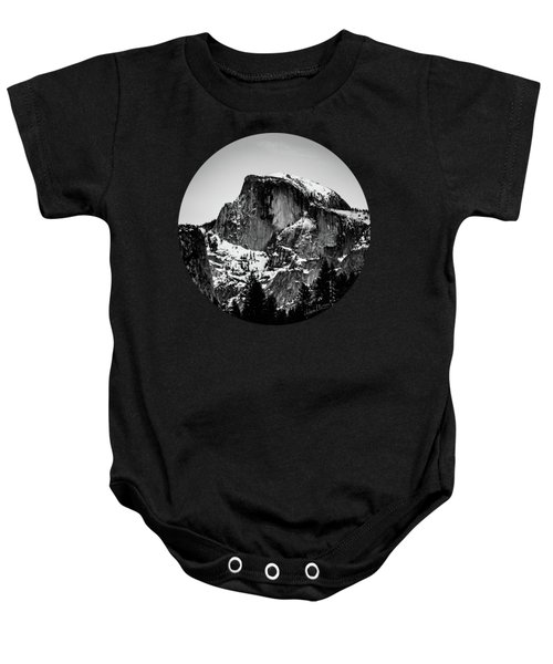 Half Dome Aglow, Black And White Baby Onesie