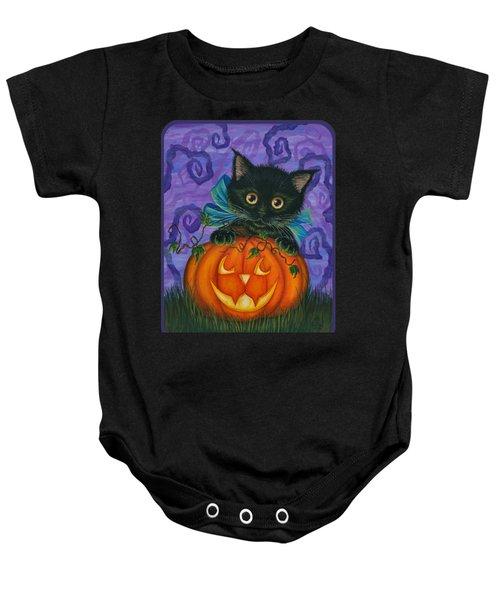 Halloween Black Kitty - Cat And Jackolantern Baby Onesie