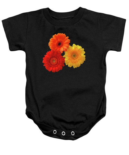 Happiness - Orange Red And Yellow Gerbera On Black Baby Onesie by Gill Billington