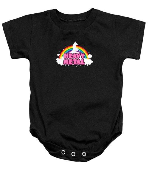 Heavy Metal Funny Unicorn  Rainbow Mosh Parody Design Baby Onesie by Philipp Rietz