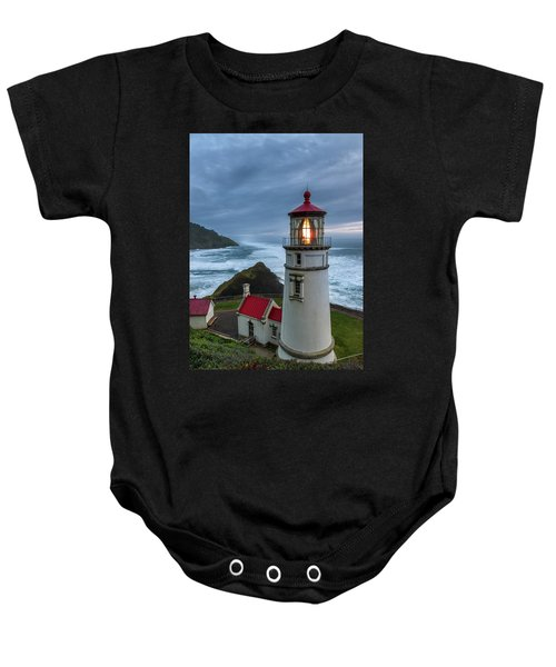 Heceta Head Lighthouse Evening Baby Onesie