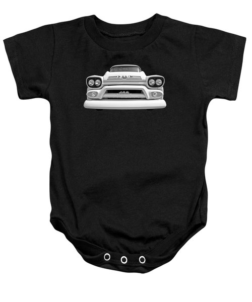 Here Comes The Sun - Gmc 100 Pickup 1958 Black And White Baby Onesie