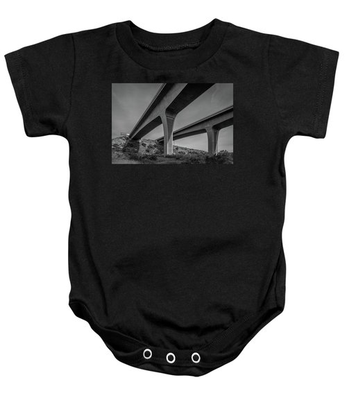 Highway 52 Over Spring Canyon, Black And White Baby Onesie