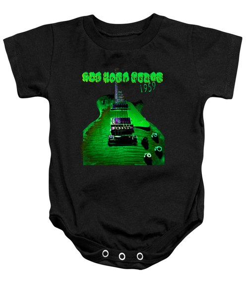 Baby Onesie featuring the photograph Holy Grail 1959 Retro Relic Guitar by Guitar Wacky